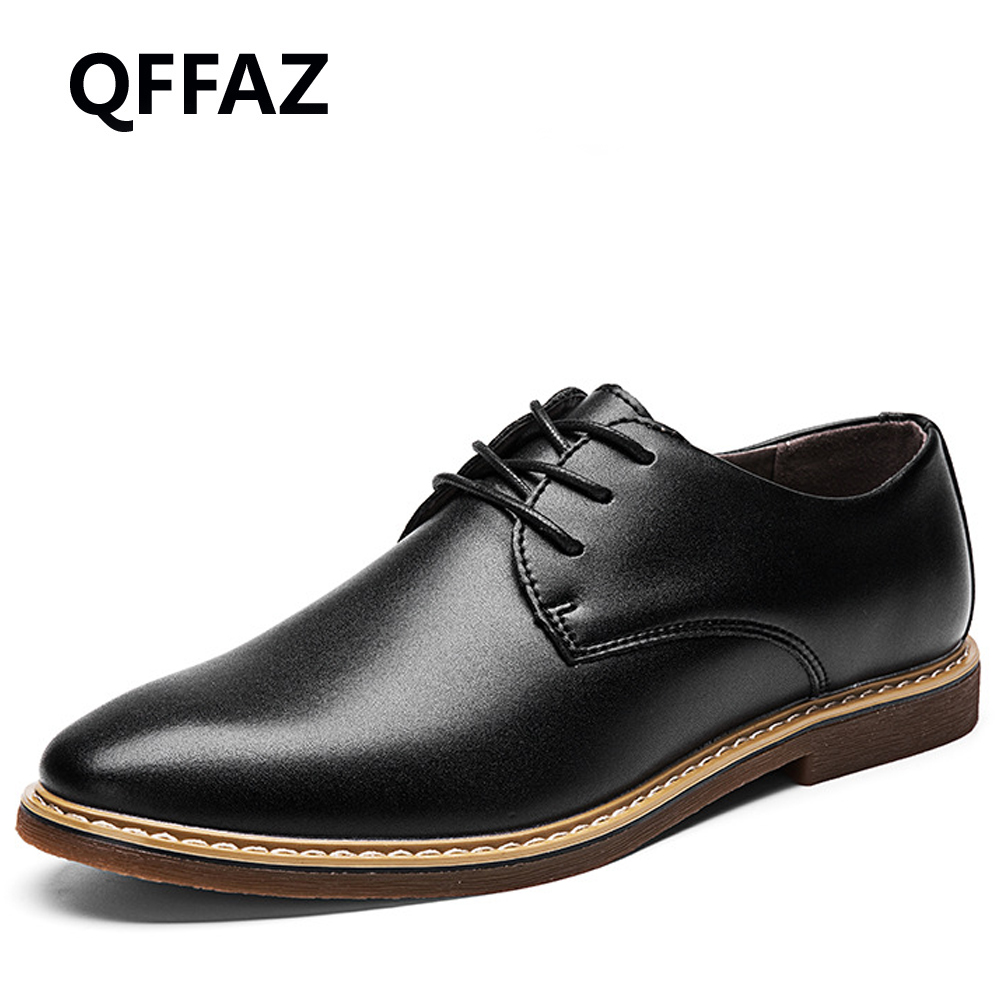 QFFAZ 2018 New Spring Genuine Leather Men Shoes High Quality Oxford Shoes For Men Lace-Up Breathable Men Casual Shoes<br>