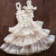 Flower Girl Wedding outfit Cake Smash Birthday Beige & Cream Lace Petti Dress