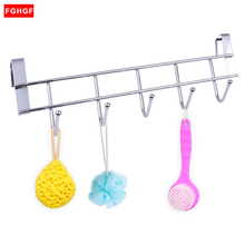 Stainless Steel Bathroom Kitchen Organizer Hanger Hooks With 5-Hook Towel Hat Coat Clothes Cabinet Draw Door Wall Hook Hanging(China)
