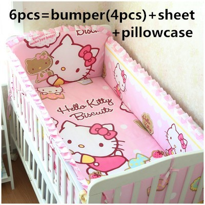 Promotion! 6PCS Cartoon 100% Cotton Baby Bumper Crib Set ,Baby Kit Cot Bed,Crib Bedding Set (bumpers+sheet+pillow cover)