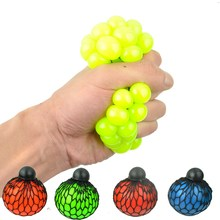 Squishy Colored Mesh Stress Reliever Ball Squeeze Stressball Party Bag Fun Gift(China)