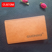 factory private customzied metal PU leather embossed logo sewing on clothes private label branding custom main signs clothing