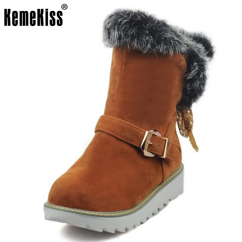 KemeKiss Size 33-44 Women Half Short Snow Boots Thick Fur Flats Botos In Cold Winter Shoes With Thick Fur Botas Women Footwear<br>