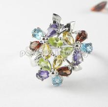Gems ring Gems are natural amethyst,citrine,peridot,blue topaz,garnet 925 sterling silver Flower style rings0.2ct*15pcs gems