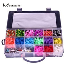 Meetcute DIY 1500 Rainbow Colour Loom Bands Kit Glow In The Dark Rubber Looms Xmas Bracelet Wholesale(China)