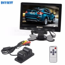 DIYKIT 7 inch Touch Button Ultra-thin Car Monitor + Rear View Car Camera Wireless Parking Radar Sensor Assistance System(China)