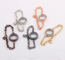 OMH wholesale gun black rose gold jewelry suit auger circular can open the DIY photo frame bracelet SZ50