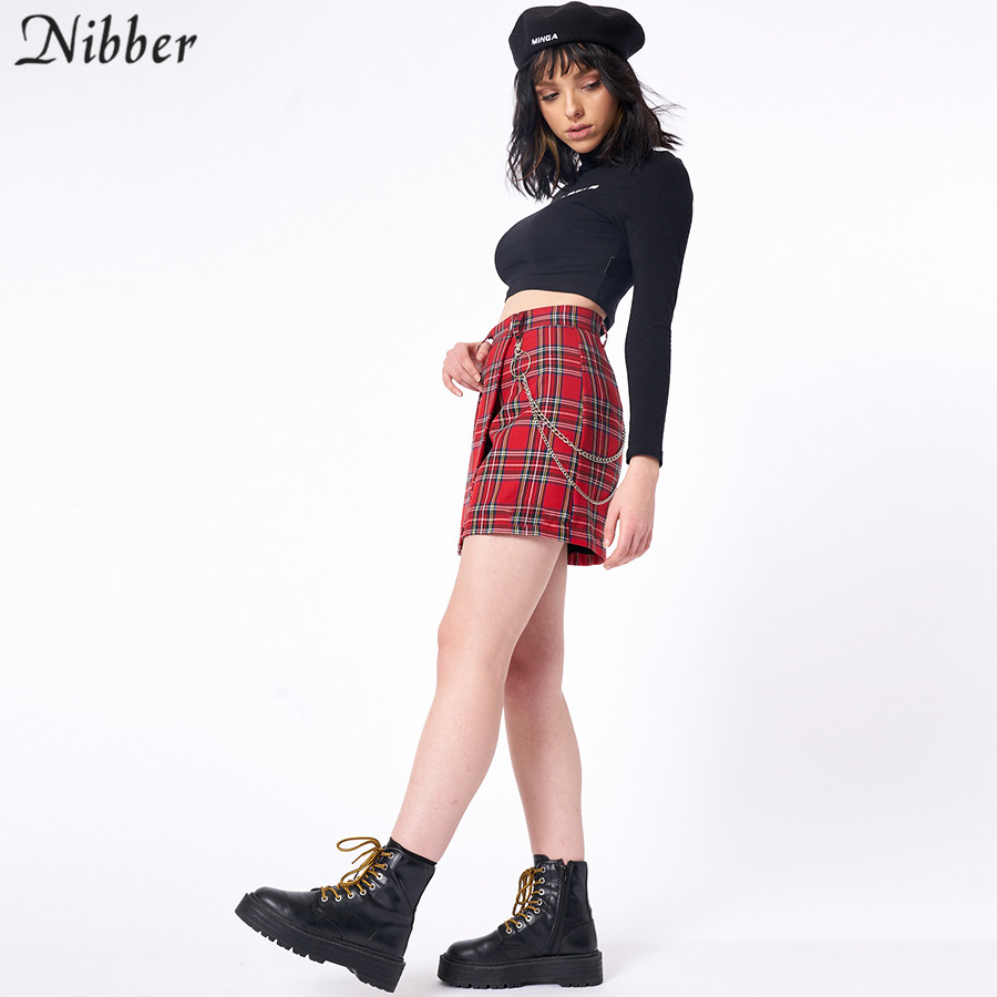 Nibber spring Vintage red Plaid mini skirts Women 19 summer fashion office lady club party casual short pleated skirts mujer 8