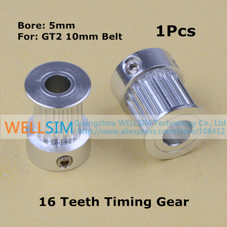 1Pcs GT2 Timing Pulley 16 Tooth (16teeth) Gear Alumium Bore 5MM for GT2 belt Width 10mm Best Quality For 3D printer parts<br><br>Aliexpress