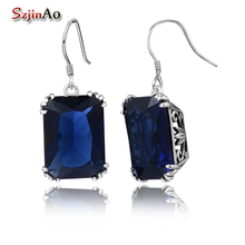 Szjinao Wholesale Square Earrings Victoria Style Blue Stone Women Pirate Ship Vintage 925 Sterling-Silver-Jewelry Witcher(China)