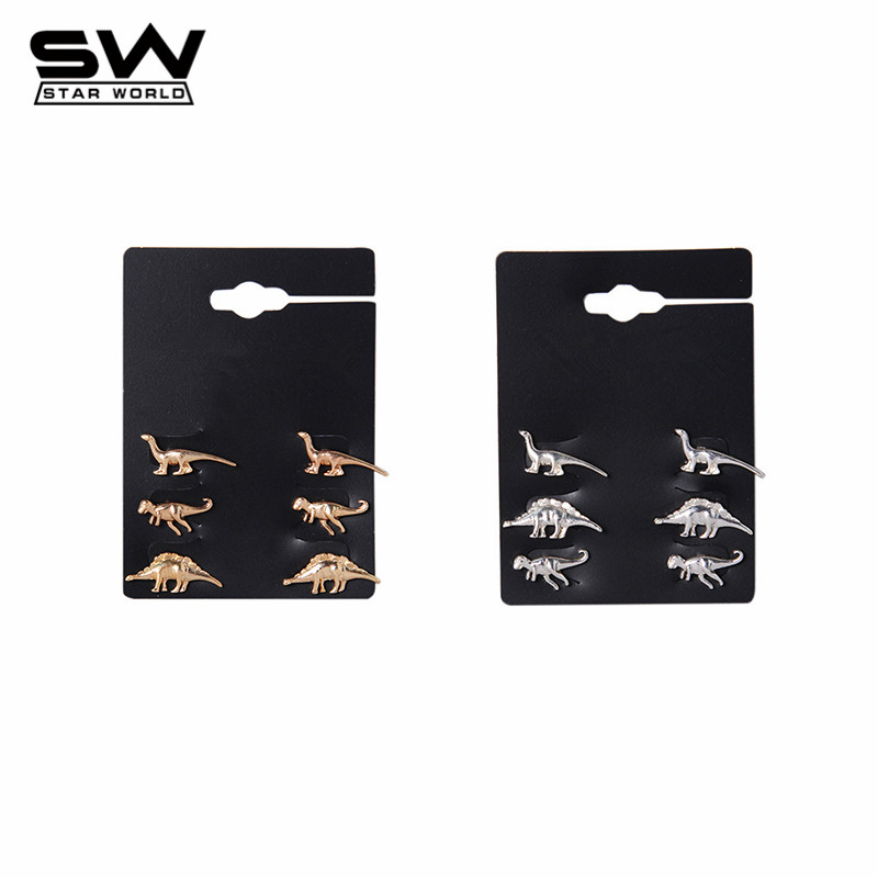 STARWORLD fine stud earrings animal dinosaur metal stud earring wedding engagement jewelry earrings for women men 3 Pairs/Set(China (Mainland))