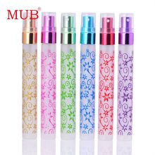 3PCS/1Lot 10ml Unique Printing 6 Colors Mini Atomizer Glass Spray Perfume Bottles Travel Small Vaporisateur Parfum