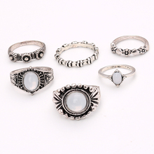6PC\SET Boho Vintage Rings Set Opal Stone Ethnic Carving Tibetan Antique Silver Color Ring for Women Bohemia Beach Rings Jewelry
