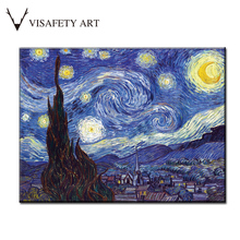 1 PCS/SET Huge Picture Classic Landscape Oil Painting On Canvas The Starry Night From Van Gogh canvas print Living Room Wall Art(China)