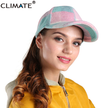 CLIMATE 2017 New Fashion Wool Extra Warm Girls Pink Plaid Winter Baseball Cap Women Pink Checks Nice Wool Adjustable Winter Hats(China)