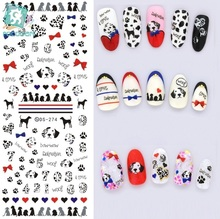 Rocooart DS274 Water Transfer Foils Nail Art Sticker Harajuku Pet Dogs Blue Red Water Decals Manicure Decorations Tools Sticker(China)
