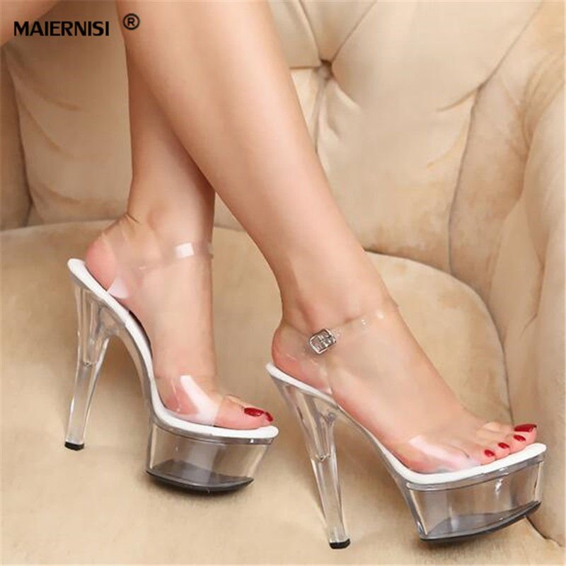 MAIERNISI Plus:34-44 Summer Ankle Strap sandals female sexy crystal shoes woman 15cm Thin High Heels transparent platform pumps<br>