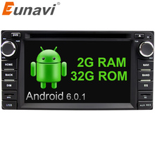 Eunavi 2din Android 6.0 4 Core 2G RAM car dvd player for Toyota Hilux VIOS Old Camry Prado RAV4 Prado 2003-2008 car stereo radio