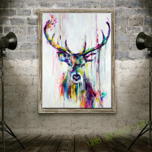Watercolor  HD Printed On Canvas Art Animal Canvas Painting Wild Elk  Wall Pictures For Living Room Decorative Painting Unframed