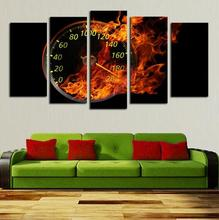 Hot Sell 5 Panels Abstract Oil Painting Wall Art The fire Wall Clock Canvas  For Lving Room Decoration