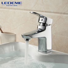 LEDEME Basin Faucet Square Designer Brass Vessel Sink Water Chestnut Tap Bathroom Faucet Chrome Modern Waterfall Faucets L1054(China)