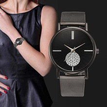 Luxury Women's Simple Watches 2017 New Arrival Diamond Dial Watches Women Clock Gift Mesh Stainless Steel Ladies Quartz Watch(China)