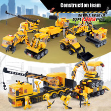 New City Construction Team Figures Navvy Crane Excvavtor Truck Vehicle Model Building Blocks Bricks Educational Kid Toy