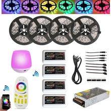 HOTOOK 20M 5050 RGBW RGBWW RGB Mi Light WIFI Led Strip Waterproof Dimmable 12V 24V+4pcs Controller + RF Remote + Power Supply