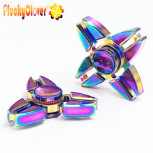 1 pc Colorful Fidget Spinner Metal Hand Spinners Triangle Crabs Rotating Attention To Autism Four Corners Crabs Top Spinner toys(China)