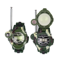 2Pcs Multi-functional Two Way Radio Toy with Compass Magnifier Reflector Walkie Talkie Toys Children Military Style Wrist Watch(China)