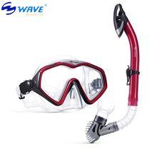 WAVE Fsnorkeling equipment diving mask snorkel set professional spearfishing gear Scuba Diving Equipment Dive Mask+Dry Snorkel