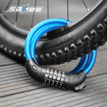 SAHOO Cycling Bike Cable Lock 5 digit Combination Password Bicycle Lock MTB Anti Theft Security Steel Cable Lock in 1.5m