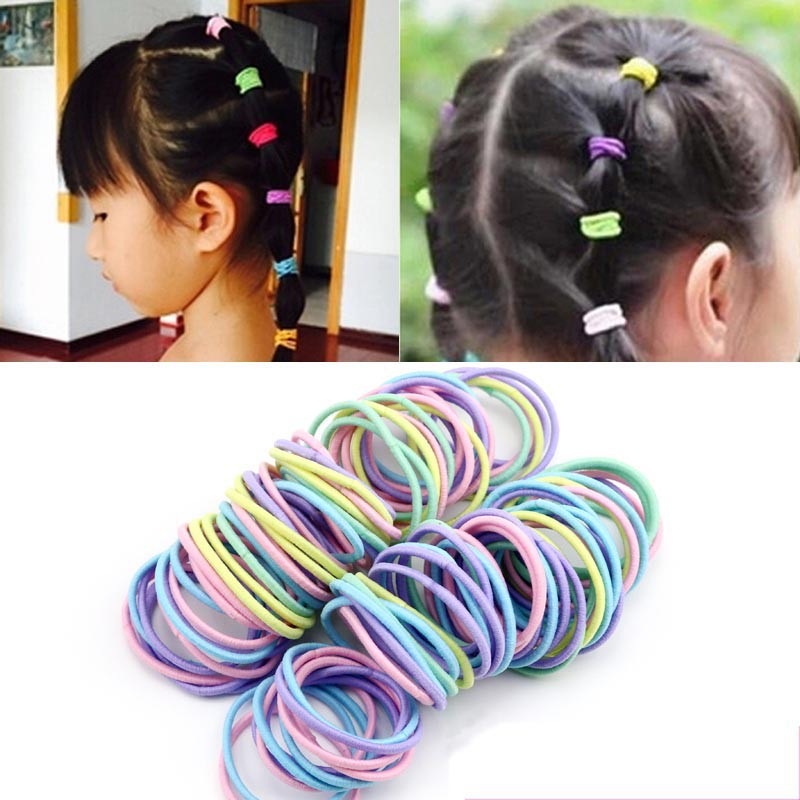 100 Pcs Women Girl Elastic Hair Rubber Rope Scrunchie Ponytail Holder Bands hairband(China (Mainland))