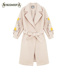 New Autumn Winter Collect waist Embroidery 2017 Women Woolen jacket Lapel Medium long Sweet Slim lantern sleeves coat WYT199(China)