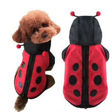 Funny halloween dog ladybug costume  Chihuahua clothes winter warm small dog pet cat cotton padded jacket coat hoodie clothing