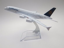 16cm German Air Lufthansa Airlines Airbus 380 A380 Airways Plane Model Aircraft Alloy Metal Airplane Model w Stand(China)