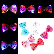 5pcs/lot LED Luminous Neck Tie Mixcolor Flashing Fashion Bow Tie Party Wedding Dancing Stage Glowing Ties  LS
