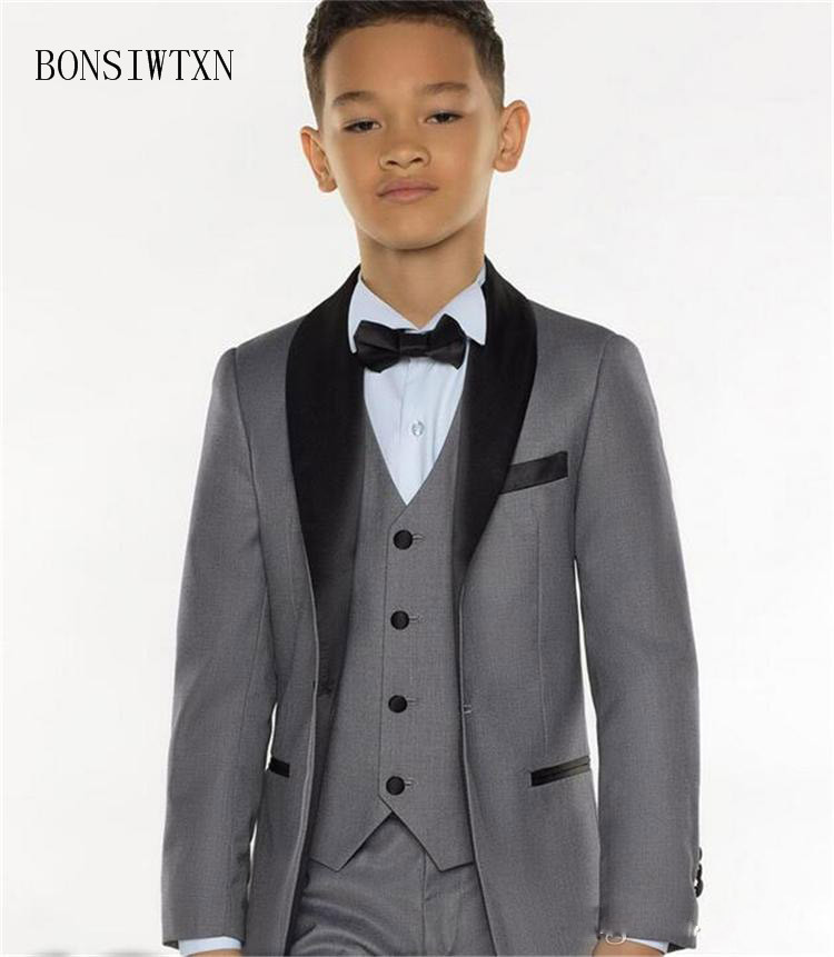 BONSIWTXN Flower Boy Suits Sets Formal Wedding Clothes Children Costume Stage Performance Host Shows Suits Kids Boys Prom Suit