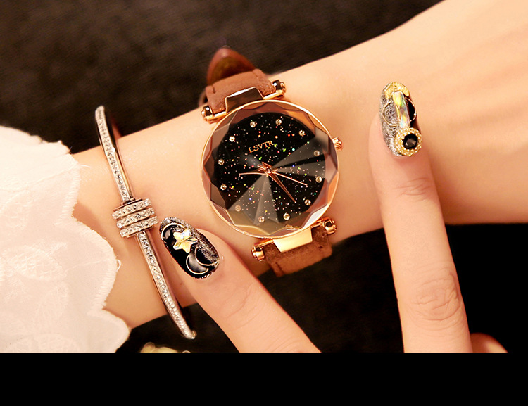 18 Luxury Brand Gogoey Women Watches Personality romantic starry sky Wrist Watch Leather Rhinestone Designer Ladies Red Clock 33