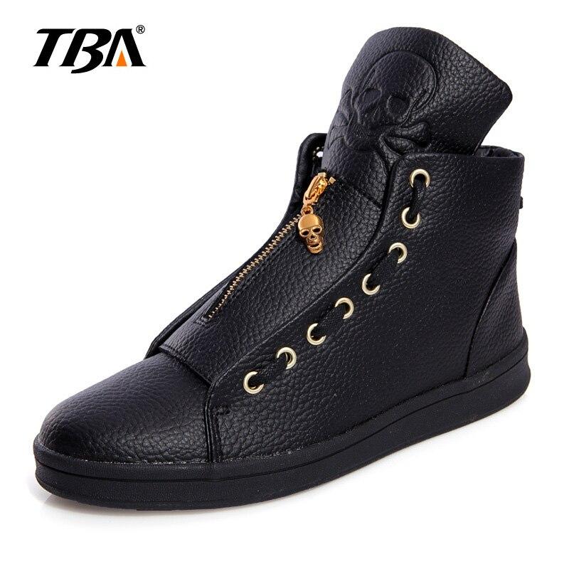TBA Men Leather Shoes Winter High Top Skull Gold Zipper Design Men Shoes Hip Hop Skeleton Mens Joggers Zapatillas Homme<br>
