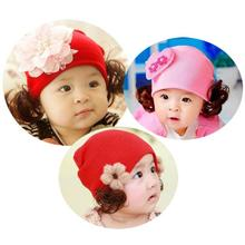 2017 Princess Knit Hat Cute Lovely Children Baby Girls Hat Bowknot Beanie Autumn Winter Wig Hat Baby Girls Cartoon Caps