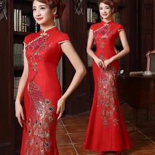red qi pao and gold bride silk rhinestone peacock fish tail mermaid cheongsam chinese traditional wedding long dress qipao gowns