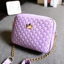 Newest Women Stylish Messenger Bags Rivet Chain Crown bags Shoulder Bag PU Leather Crossbody with High Quality