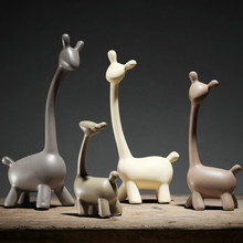 Modern Home Decor Family Deers Ceramic Decoration Crafts Creative Figurines Miniatures Wedding Gifts(China)