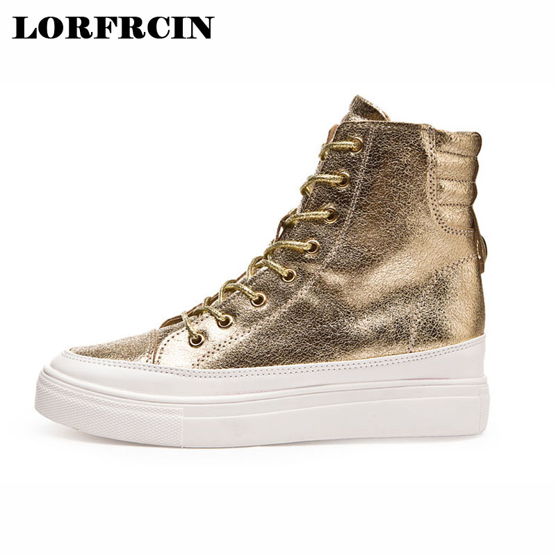 LORFRCIN Fashion High Quality Shoes Woman Lace Up Platforms Wedge Boots Women Increased Internal Women Pumps Zapatillas Mujer<br>