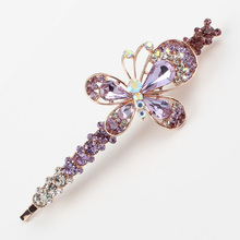 Hair jewerly women 1 PC insect butterfly hair grips brand hair accessories rhinestones white pink purple fashion hair ornaments