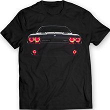 Jzecco Movie Shirt Dodge Challenger Srt Led Headlights Muscle Racer Car T-shirt 100% Cotton Holiday Gift Birthday (xl, Black)