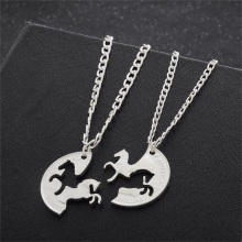 2pcs Bijuteria Horse Pendant Couple Necklace,Pendants for friends American Coin Necklaces,Colar Vintage Cheap Costume Jewelry(China)