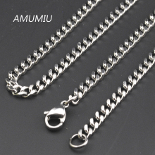 Promotion !  (40-70cm),3mm Width 316L Stainless Steel For Women Men Fashion Silver Chains Necklace Gifts KN001