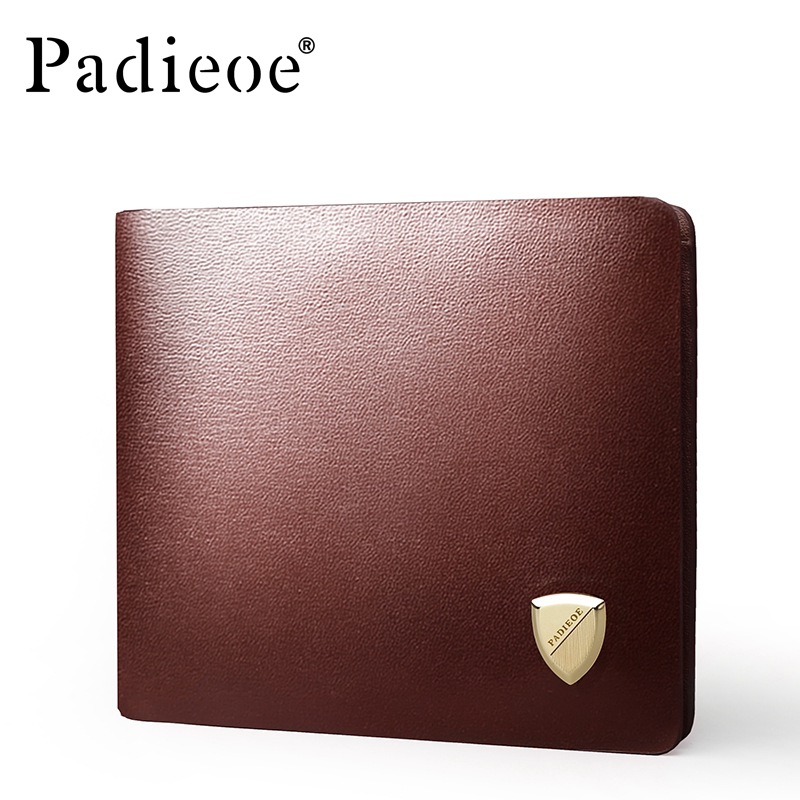 PADIEOE Fashion New Design Genuine Leather Mens Wallet Fashion Casual Men Purse High Quality Short Card Holder Wallet<br>